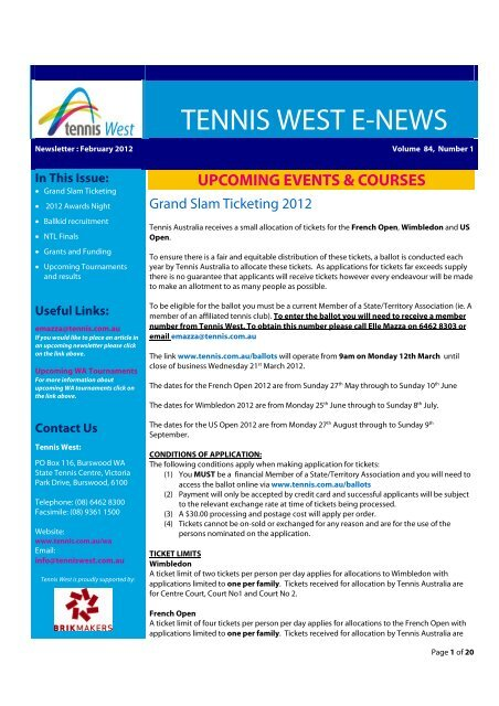 edition of the Tennis West E-News. - Wembley Downs Tennis Club