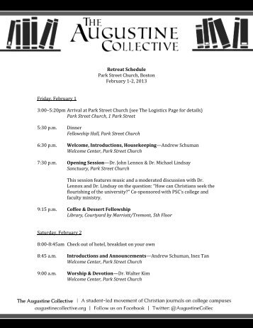 Retreat Schedule Park Street Church, Boston February 1-2, 2013 ...