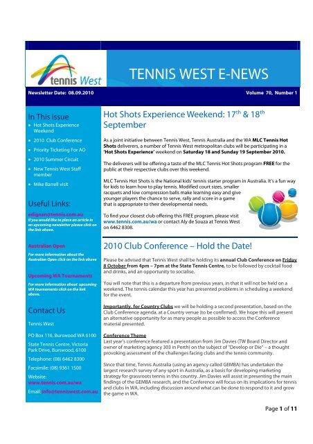 TENNIS WEST E-NEWS - Tennis Australia