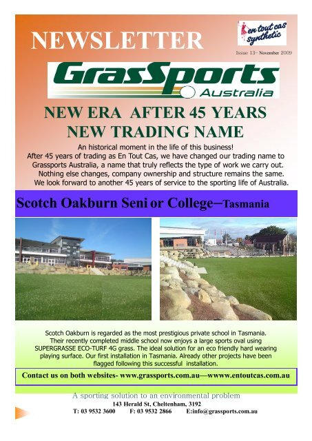 Grassports Newsletter 13-Email - Synthetic Grass Sports