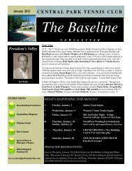 January 2012 Newsletter - Central Park Tennis Club