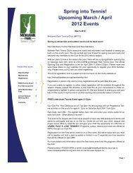 March / April, 2012 MPTC Newsletter - Mohawk Park Tennis Club