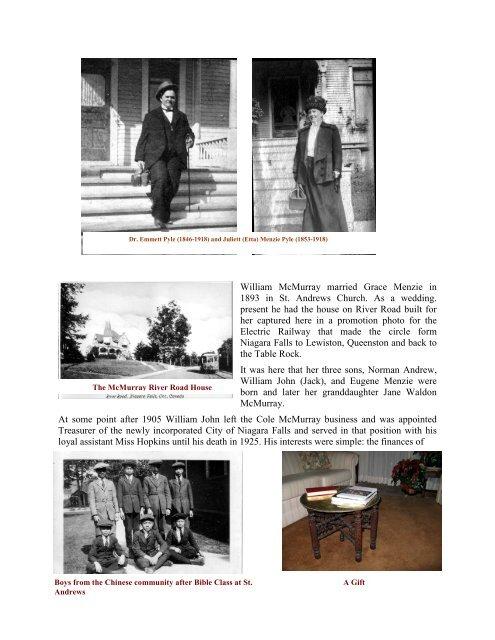 Buckley, Menzie and McMurray Families - Niagara Falls, Ontario ...