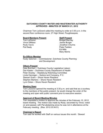 DUTCHESS COUNTY WATER AND WASTEWATER AUTHORITY ...