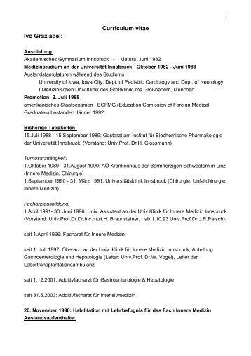 Lebenslauf -Dr. Ivo Graziadei: - Gastroenterologie-tirol.com