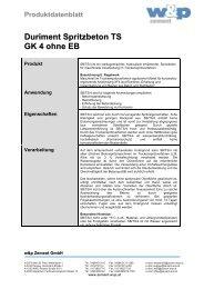 Duriment Spritzbeton TS GK 4 ohne EB - Wietersdorfer & Peggauer ...