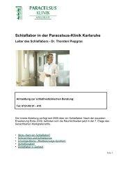 Schlaflabor in der Paracelsus-Klinik Karlsruhe