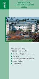Krankenhaus mit Fachabteilungen für - bei der Paracelsus-Kliniken ...