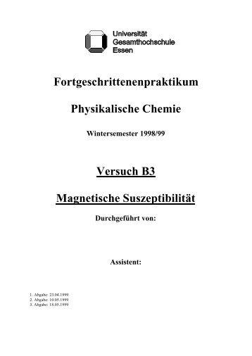 Fortgeschrittenenpraktikum Physikalische Chemie Versuch B3 ...