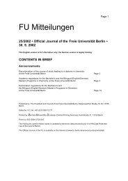 Institut für Chemie und Biochemie an der FU Berlin - Freie ...