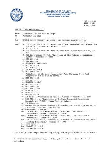 MCO 3120.11 MARINE CORPS PARACHUTING POLICY AND ...