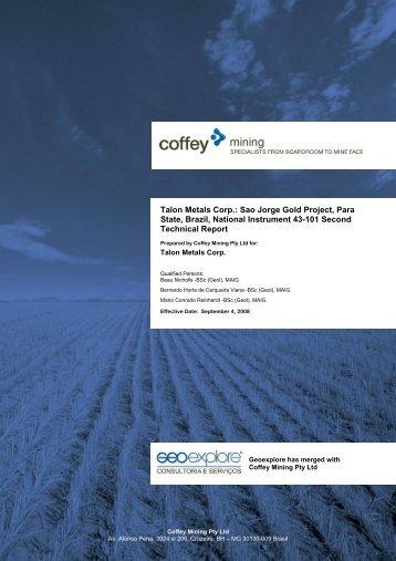 Talon Metals Corp.: Sao Jorge Gold Project, Para State, Brazil ...