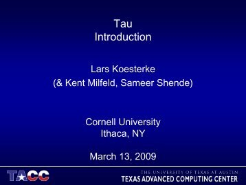 Slides - Cornell University Centre for Advanced Computing