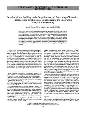 PERSONALITY PROCESSES AND INDIVIDUAL DIFFERENCES ...