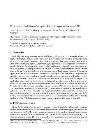Performance Evaluation of Adaptive Scientific Applications - CiteSeerX