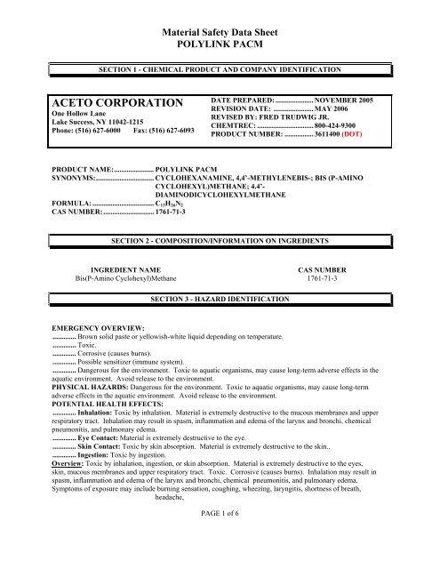 ACETO CORPORATION - The Hanson Group, LLC