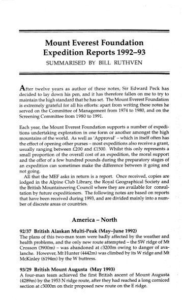 AJ 1994 287-294 MEF Reports.pdf - Alpine Journal