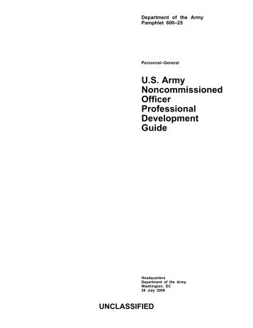 U.S. Army Noncommissioned Officer Professional Development Guide