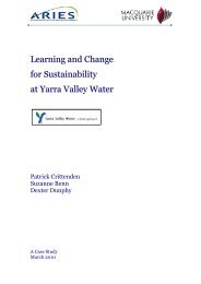 Learning and Change for Sustainability at Yarra Valley Water