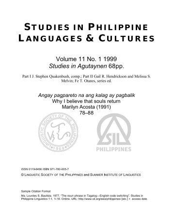 STUDIES IN PHILIPPINE LANGUAGES & CULTURES