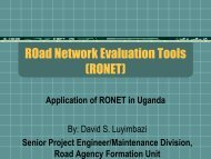 ROad Network Evaluation Tools (RONET) - Roads Fund Board