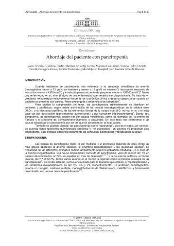 Abordaje del paciente con pancitopenia - Cátedra de Clínica Médica