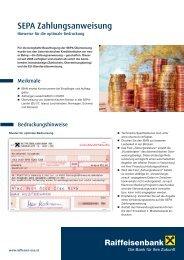 SEPA Zahlungsanweisung - Hinweise für die optimale ... - Raiffeisen