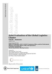 Joint Evaluation of the Global Logistics Cluster - WFP Remote ...