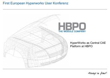 First European Hyperworks User Konferenz