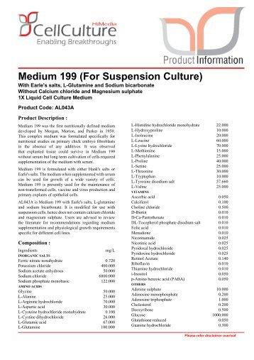 Medium 199 (For Suspension Culture) - Himedia Laboratories