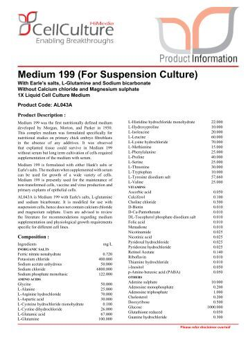Medium 199 (For Suspension Culture) - Himedia Laboratories