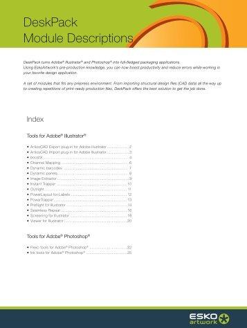 DeskPack, Module Descriptions - Esko
