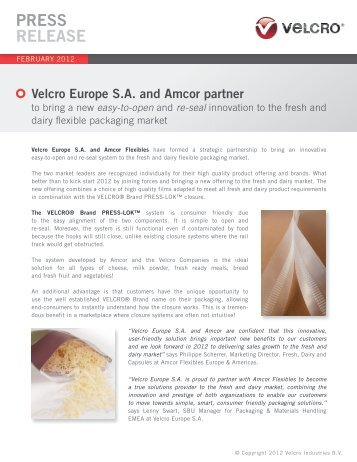 Velcro Europe SA and Amcor partner