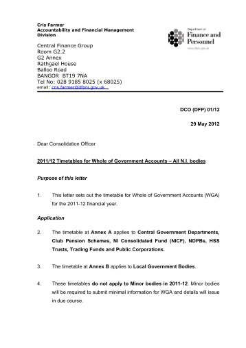 DCO (DFP) 01/12 - Department of Finance and Personnel
