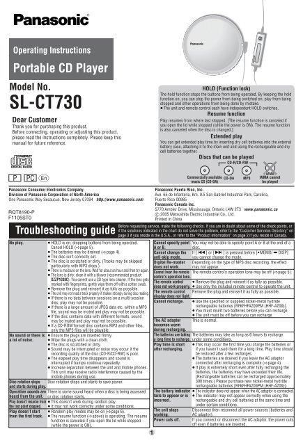 SL-CT730 - Operating Manuals for Panasonic Products - Panasonic