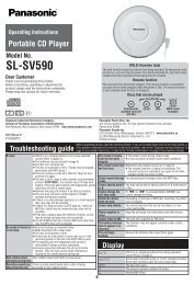 Model No. SL-SV590 - Operating Manuals for Panasonic Products ...