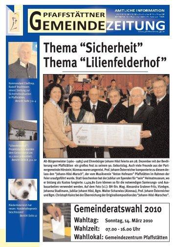 """Thema """"Sicherheit"""" Thema """"Lilienfelderhof """" - Pfaffstätten"""