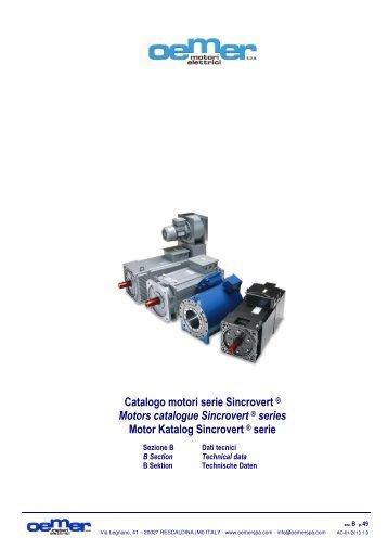 Catalogo motori serie Sincrovert series Motors catalogue - Oemer