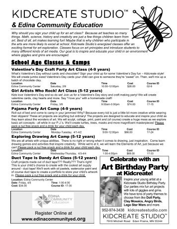 Art Birthday Party - Community Ed