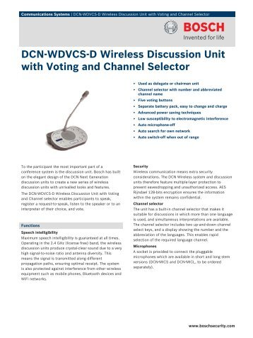 DCN‑WDVCS‑D Wireless Discussion Unit with Voting and Channel ...