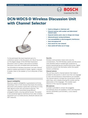 DCN‑WDCS‑D Wireless Discussion Unit with Channel Selector