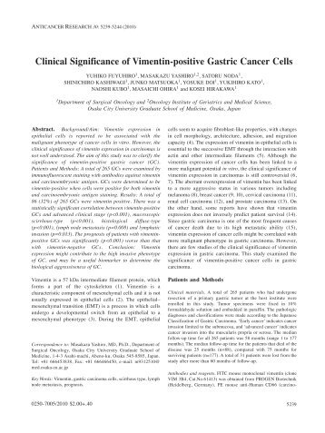 Clinical Significance of Vimentin-positive Gastric Cancer Cells