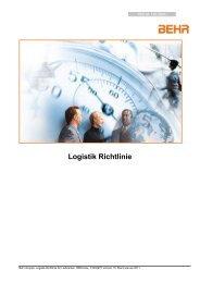 Logistikrichtlinien für Lieferanten weltweit - Behr