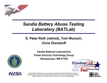Sandia Battery Abuse Testing Laboratory (BATLab)