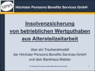 Höchster Pensions Benefits Services GmbH - HPBS GmbH