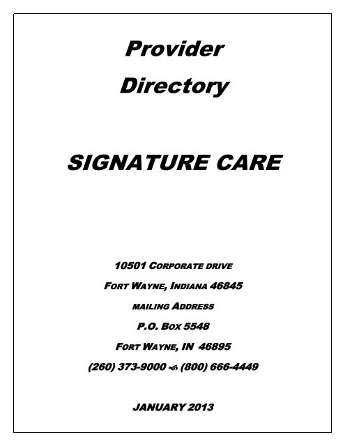 Provider Directory SIGNATURE CARE - Parkview Total Health