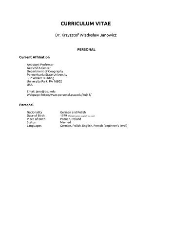 curriculum vitae - Department of Geography - University of California ...