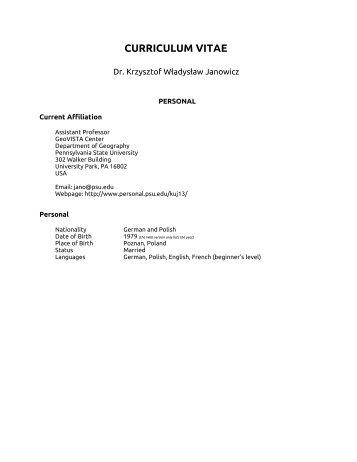 curriculum vitae - Department of Geography - University of California ...