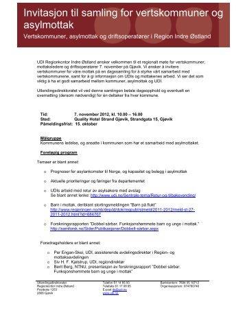 Invitasjon til samling for vertskommuner og asylmottak - UDI