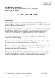STUDENT PROFILE SHEET - staffcentral - University of Brighton